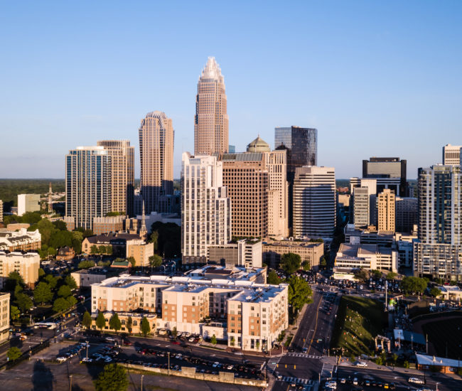 Panaoramic view of the growing cityscape and buildings of Charlotte NC