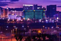 Las Vegas - Vages Strip at Night Panorama. Famous Cities Photo Collection. Las Vegas, Nevada, USA.